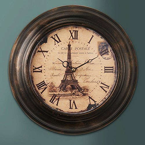 Lightinthebox Retro Design Wall Clock Home Decor Eiffel Tower Background Roman Numeral 12 Inch Round Clock Brown Aa Battery Large Decor Metal Wall Clock Wall Clock Rustic Wall Clocks