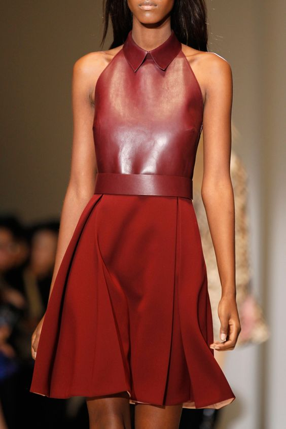 Gucci Fall 2014 Collection. Leather top and flowy skirt in different shades of red. Love it!: