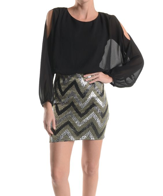 Another great find on #zulily! Black & Silver Zigzag Blouson Dress by Love Point #zulilyfinds