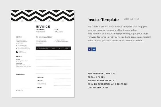 Style Invoice Template by alimran24 on @creativemarket - invoice style