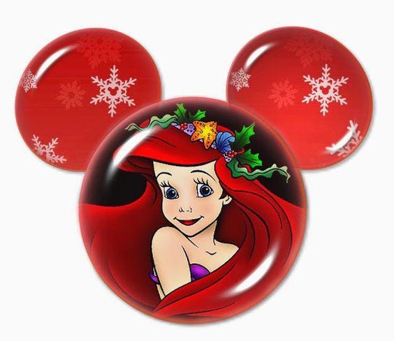 Princesas Disney para Navidad dentro de la Silueta de Mickey.