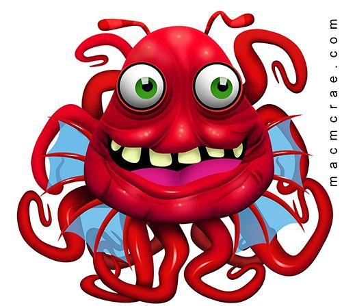 Red Tentacle Monster Eating Junk Food Monster Tentacle Monster Monster Coloring Pages