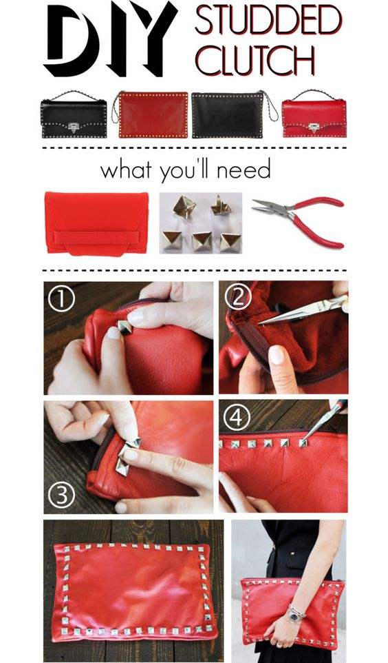"""DIY: Studded Leather Clutch"" by polyvore-editorial on Polyvore"