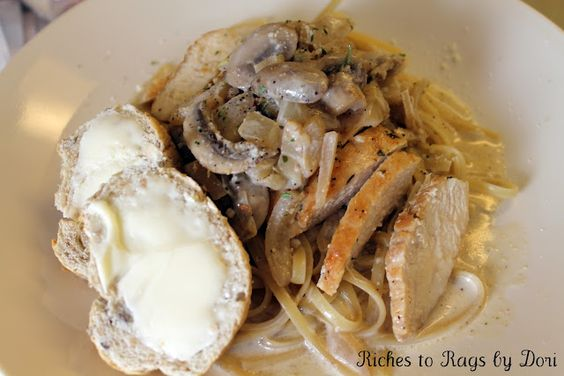 Chicken Linguine with Creamy Mushroom Onion Sauce served with Multi Grain Baguette. Delicious!