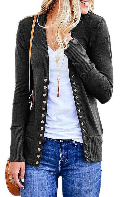 VERABENDI Women Long Sleeve Snaps Button Down V Neck Cute Knit Sweater Cardigan