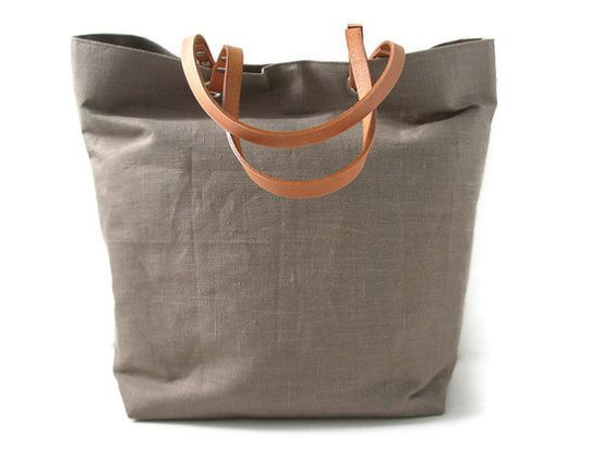 Tote Bag, Taupe Linen with Tan Leather Handles. $104.00, via Etsy.