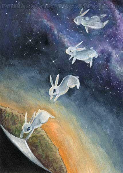 Weißes Kaninchen Kunst, Weltall, 5 x 7 Print, Childrens Wandkunst, tierische Illustration, Surreal Artwork, Sonnenuntergang Bild, psychische Gesundheit Kunst von rainbowofcrazy auf Etsy https://www.etsy.com/de/listing/111617650/weisses-kaninchen-kunst-weltall-5-x-7