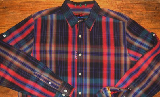 Robert Graham Jeans Mens XL Plaid LS Button Front Shirt Black Red Gray Purple #RobertGraham #ButtonFront