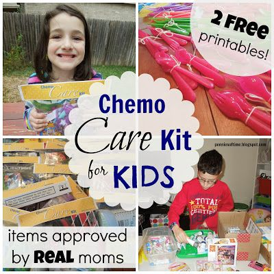 Chemo Care Kit for Kids! With the input of REAL moms currently fighting alongside their children to conquer cancer & practitioners that help heal children every day--here is a way to help kids going through chemotherapy.  2 Free Printables! Includes ideas for items to help with side effects, comfort items, and activities. We made 70 of these kits  with our kids, and each place we donated kits to were grateful and excited!  Teach kids to serve.  It is worth it.  #serviceproject #actofkindness