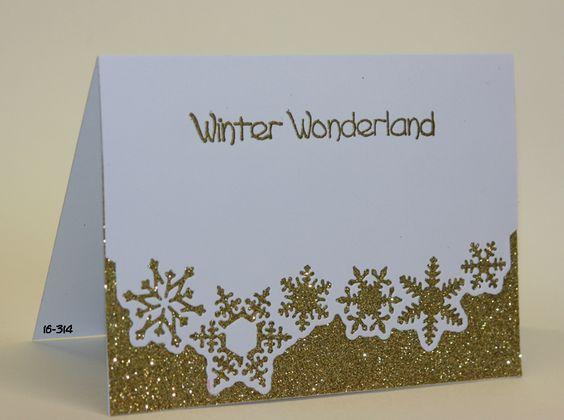 Studio Light die (frozen forest stencilFF16), gold glitterpaper, Papermania gold embossing powder
