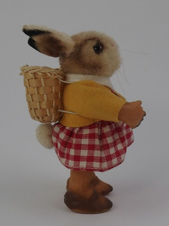 RARE Steiff Easter Bunny Bibie with Button Chest Tag Vintage German | eBay