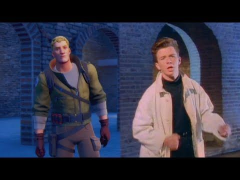 Never Gonna Give You Up Fortnite Scene Comparisons Youtube Fortnite Never Gonna Rick Astley