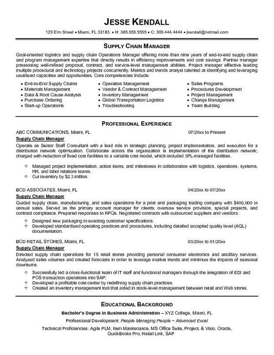 supply chain resume and resume objective sle on