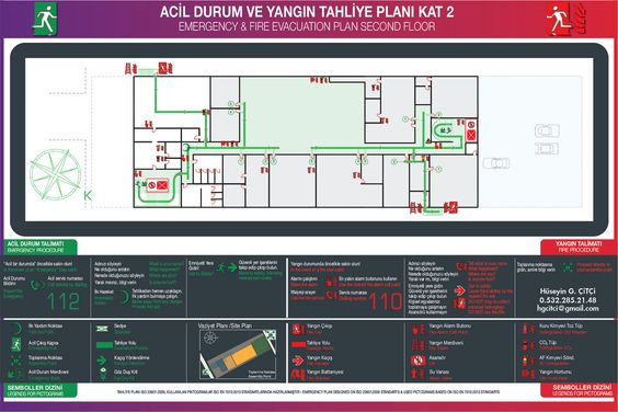 Acil Durum Plan Yangn Tahliye Plan Emergency Evacuation