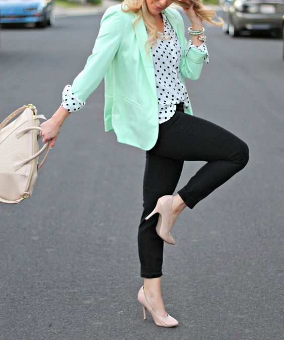 mint green blazer and polka dot blouse!