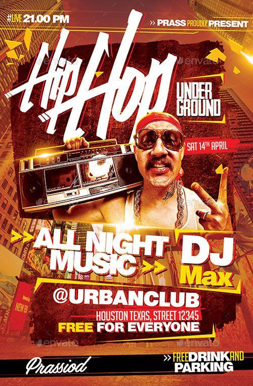 Hip Hop Underground Flyer Template Hip Hop Flyer Event Advertising