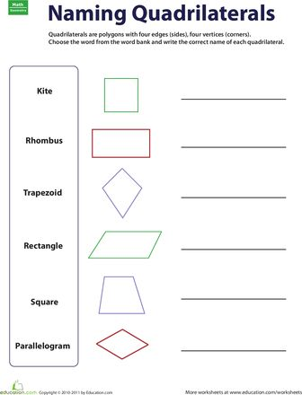 Naming Quadrilaterals | Worksheets, Go Math and Different Types Of