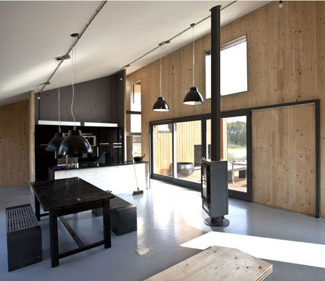 Love the look with the wood (light) and the black. The wood is not plywood, though.