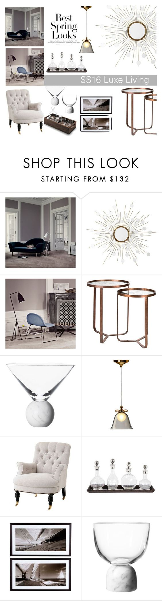"""Houseology SS16 Luxe Living"" by thehouseologists ❤ liked on Polyvore featuring interior, interiors, interior design, home, home decor, interior decorating, Gubi, Eichholtz, H&M and Lee Broom"