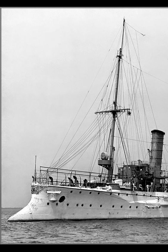 The German cruiser SMS Bremen, in 1907