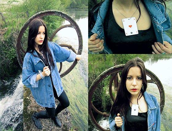 Home Made Necklace Card, Cooker's Blue Jeans Jacket, Dim Black Legging