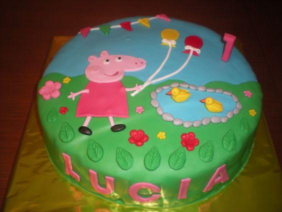 Su dibujo favorito? Peppa Pig!! Tarta para el primer cumpleaños de ...