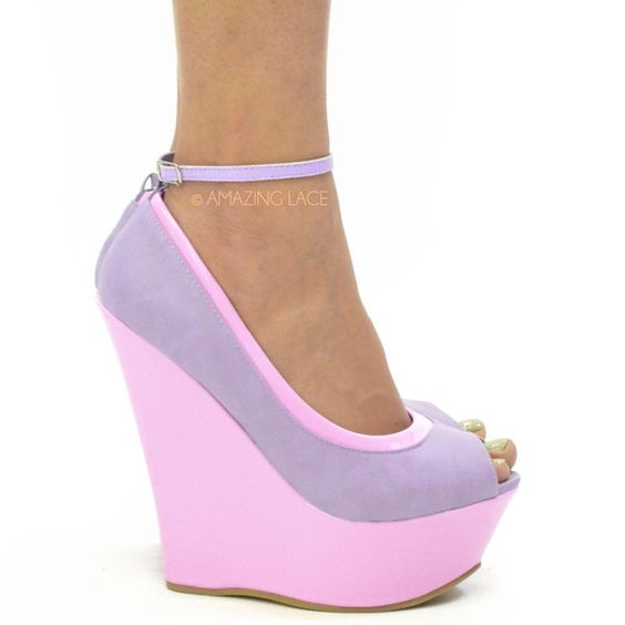 Sorority Perry Platform Wedge Heels Pastel Purple | Shoes ...