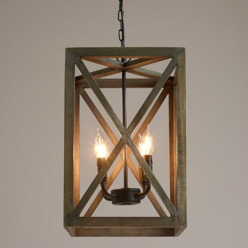Wood Foyer Chandelier : Gray wood and iron valencia chandelier open frame