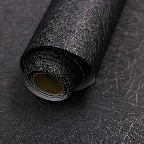 15 7 X 118 Black Silk Wallpaper Embossed Self Adhesive Peel And Stick Wallpaper Removable Kitchen W Wallpaper Cabinets Silk Wallpaper Kitchen Wallpaper Vinyl