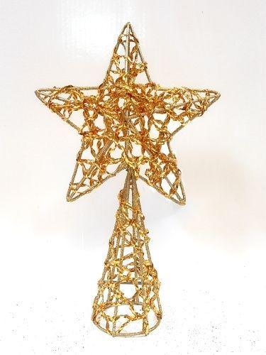 Estrella dorada para punta de rbol navidad decoracion - Decoracion de arboles de navidad ...