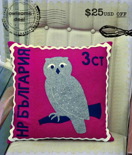 Bulgarian owl stamp inspired cushion