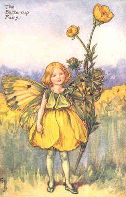 FLOWER FAIRIES: BUTTERCUP. Decorative Print. c1930. Artist: Cicely Mary Barker.