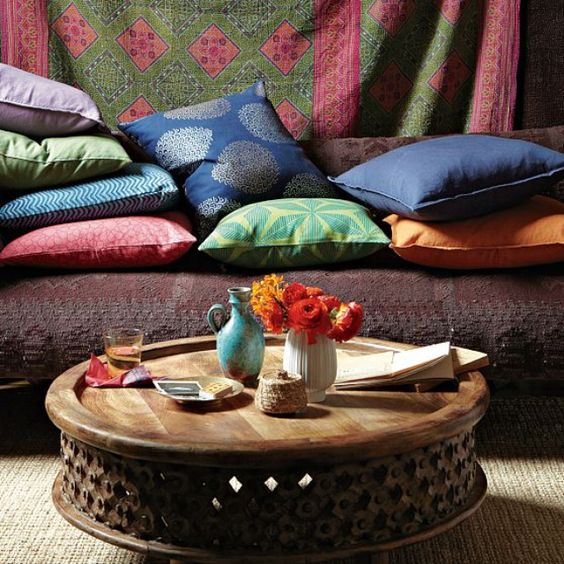 great lounge, cut wooden ottoman table    *bohemian, gypsy