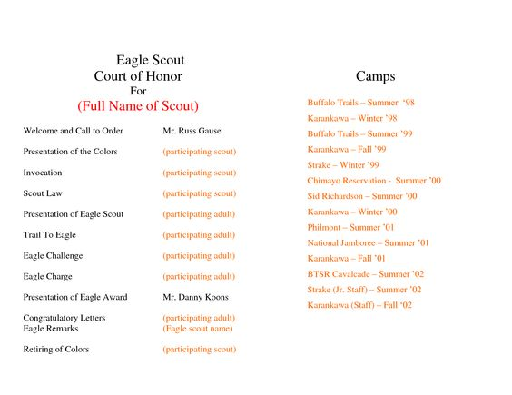 Program template templates and search on pinterest for Eagle scout court of honor program template