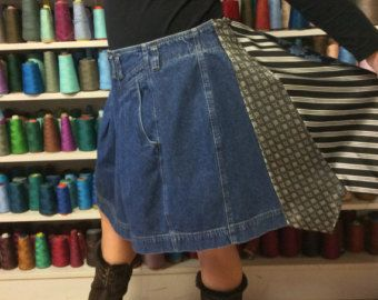 Blue jean mini skirt restyled into a one of a kind look for a curvy gal!  Extra small dark wash denim skirt enlarged by adding five paisley silk
