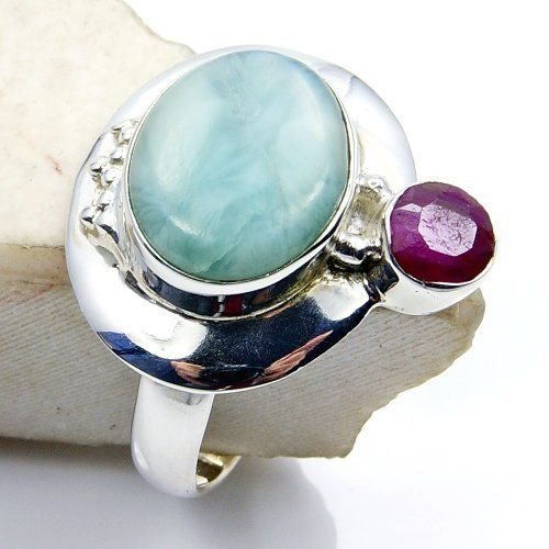 Sterling Silver Larimar, Ruby Ring, Size 7.25  Price : $47.95 http://www.silverplazajewelry.com/Sterling-Silver-Larimar-Ruby-Ring/dp/B00I0WOVXC