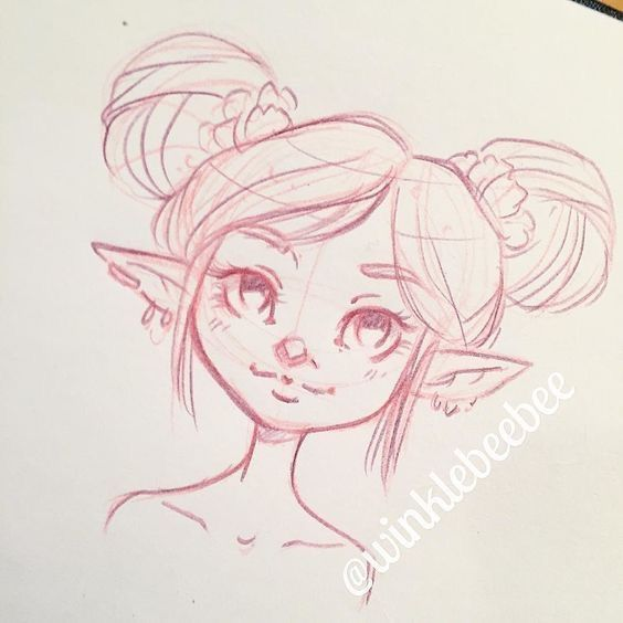 Little Elf Girl With Hair Buns Long Ears Cute Scrunchies And Earrings Young Elf Drawings Cartoon Drawings Drawings
