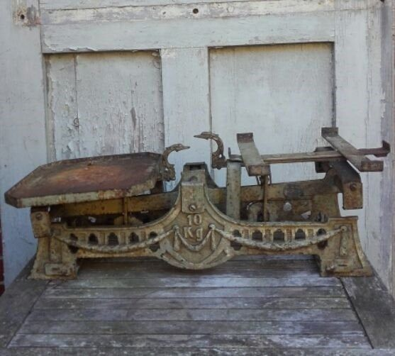 Antike Waage Balkenwaage Kramerwaage 10 Kg Gusseisen Vintage
