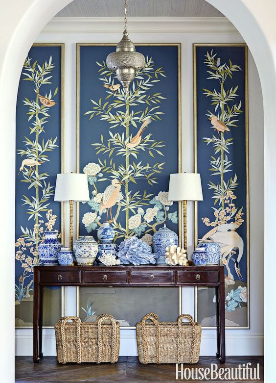 gallery-thornton-blue-entryway-with custom chinoiserie panels photo- Luke White copy