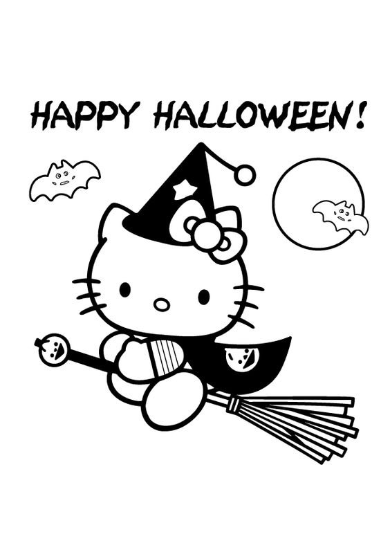 Simple Hello Kitty Coloring Pages : Simple coloring and halloween on pinterest