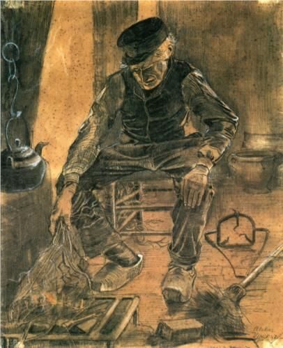 An Old Man Putting Dry Rice on the Hearth  - Vincent van Gogh 1881
