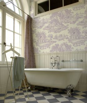 Country Toile Wallpaper Lilac From Toile 39 Ish Pinterest French Clawfoot