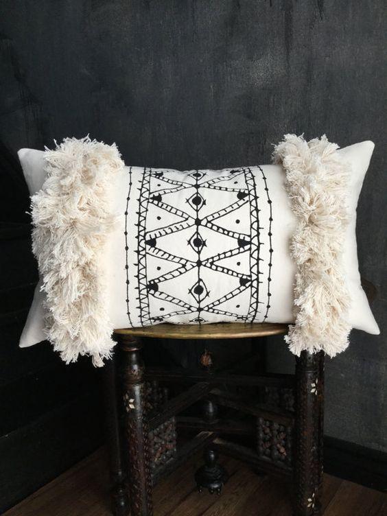 Beni ouarain rug handpainted pillow fringe pillow tassel pillow anthropologie African mudcloth taisasilecky boho pillow