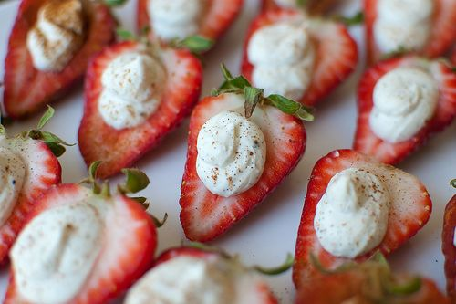 Deviled Strawberries with Spiced Mascarpone Cream