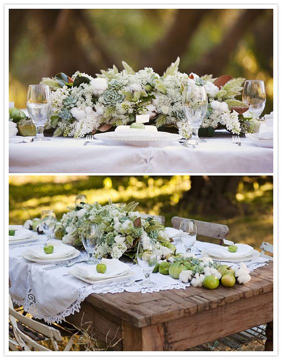 wedding centerpiece with cotton/ without the fruit and add some purple