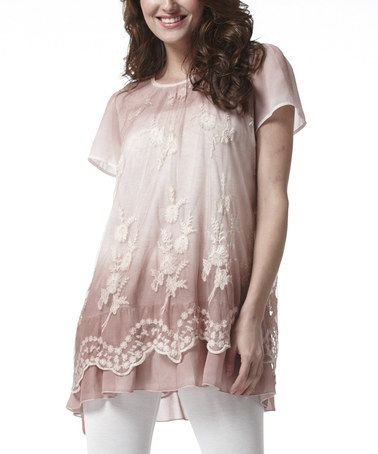 Another great find on #zulily! Pink Floral Lace Tunic - Women by Simply Couture #zulilyfinds