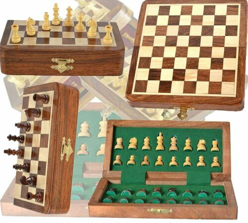 """Magnetic chess wooden portable storage 10/"""" drawer high quality games"""