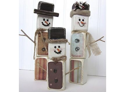 Wood Block Snowman Family