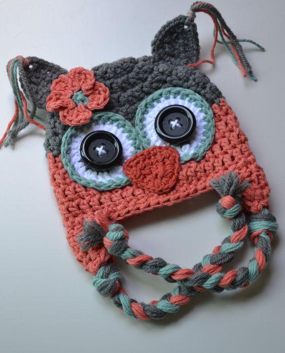Crochet Baby Girl Owl Hat Pattern : Baby hat, crochet baby hat, girl hat, owl hat, crochet owl ...