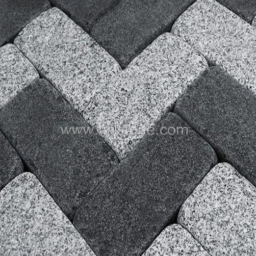 G684 Black Flamed Tumbled Cobblestone Grey Granite Granite Paving Grey Pavers